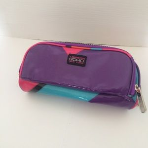Retro 80s Style Purple Makeup Bag/ Pencil Case